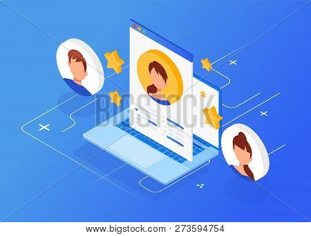 Isometric Interview With The Candidate, Freelance, Employment, Recruitment, Job Interview For Web Pa