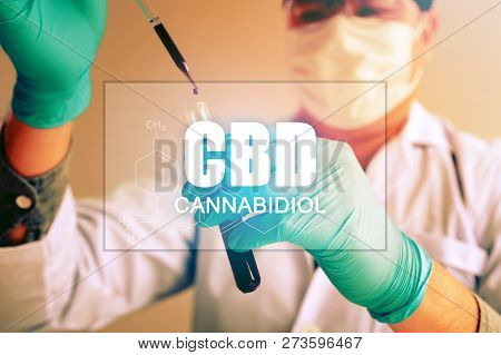 Cannabis Oil, Cbd Concept, Chemist Conducts Experiments By Synthesising Compounds With Using Dropper
