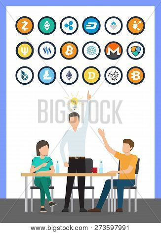 Bitcoin Currency Isolated Icons Set, Idea Of Male At Conference Vector. Bitcoindark Business Solutio