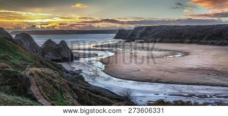 Panoramic Sunset At Three Cliffs Bay, Gower, Swansea, Uk