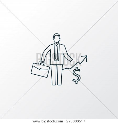 Business Success Icon Line Symbol. Premium Quality Isolated Investor Element In Trendy Style.