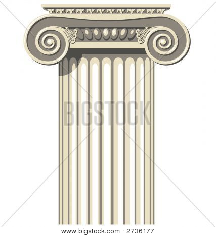 Vector illustration of a Greek Ionic Column. poster