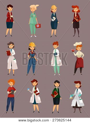 Woman Specialists, Female Job And Work. Employee Pharmacist And Psychiatry, Apothecary And Dentist,