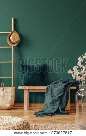 Pillow And Blanket On Bench In Green Apartment Interior With Plant, Pouf And Hat On Ladder. Real Pho
