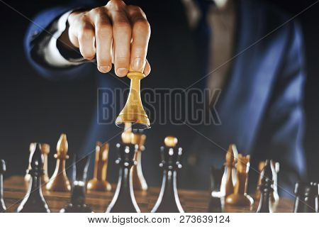 Hand Of Confident Businessman Su King Chess Piece White Play Chess,