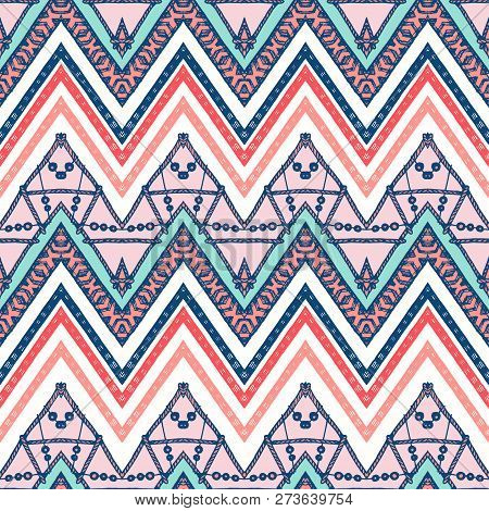 A Retro Color Zigzag Chevron Vector Background.