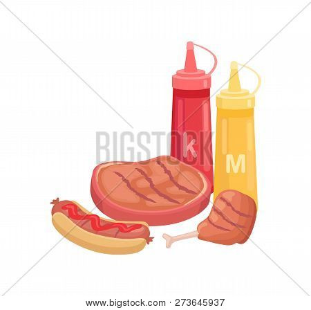 Bbq Beef Meat Beefsteak Isolated Icon Vector. Sauces Ketchup And Mustard Hot Dog With Bun And Sausag