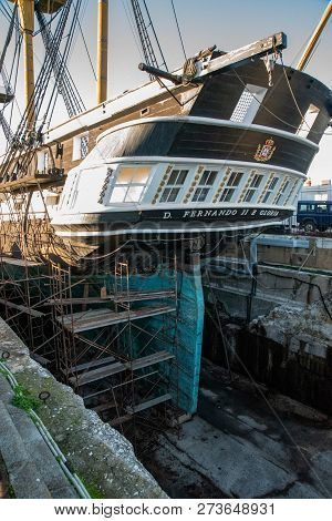 Lisbon, Portugal.  8 December 2018. The D. Fernando Ii And Gloria Portuguese Ship Being Repared In D