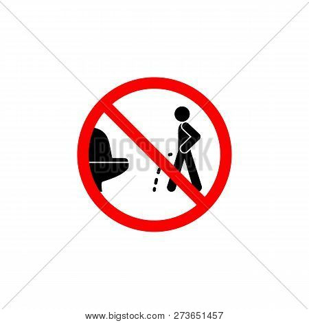 Forbidden Pissing Toilet Icon On White Background Can Be Used For Web, Logo, Mobile App, Ui, Ux