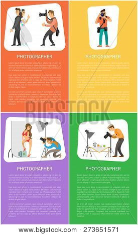Photographer Services Promo Vertical Banners. Wedding Photo, Photojournalist With Camera, Model At S