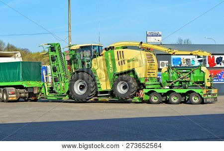Trucks In East Europe. Agricultural Vehicles. Krone. Transport. Poland, Horbov-kolonia - April 16, 2