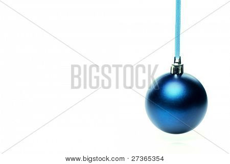 Nice blue christmas ball isolated on white background