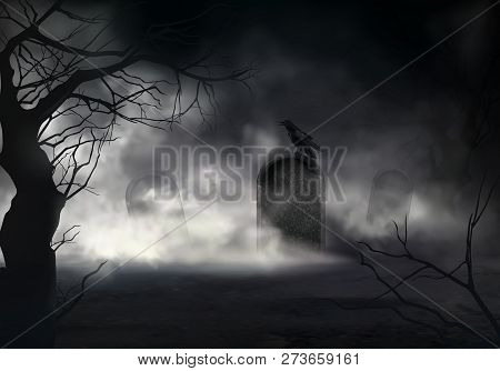 Frightening Halloween Realistic Vector Background With Dried Trees Silhouettes And Black Crow Sittin