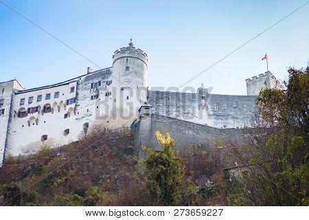 Hohensalzburg Fortress. Salzburg. Austria. Beautiful View On Salzburg Skyline With Festung Hohensalz