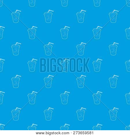 Plastic Cup Of Limonade Pattern Seamless Blue Repeat For Any Use
