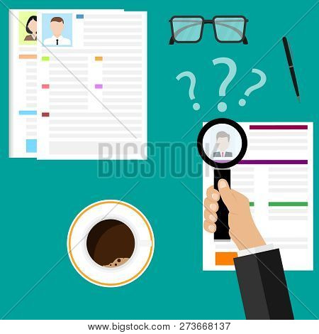 View Resume With Magnifying Glass. Flat Illustration Of The Search Of A Candidate. A Concept Of The