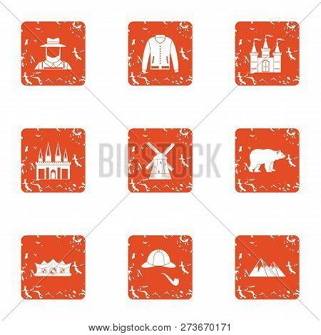 Ownership icons set. Grunge set of 9 ownership icons for web isolated on white background poster