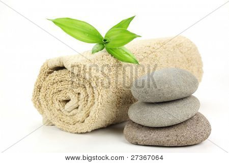 Spa still life with stacked of stone and towel