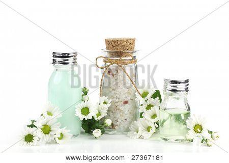 Essential oil and bath salt over white