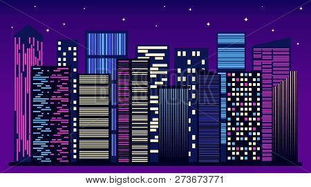 Night City Skyline. Night City Background. Urban Town Streets Skyline, Illustration With Architectur