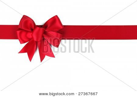 Red ribbon with bow on white