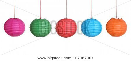 Chinese New Year Decoration-- Paper Lantern Isolated on White.