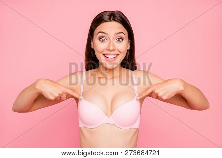 Close Up Portrait Of Attractive Beautiful Delighted Gorgeous Skinny Her She Girl Showing Nice Propor