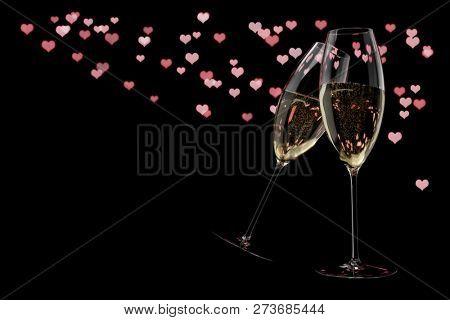 champagne glasses Valentine's Day clink glasses background 3d illustration