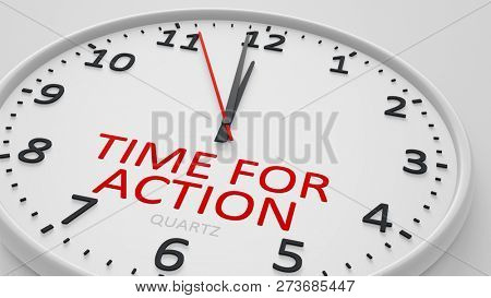 time for action modern bright clock style 3d illustration