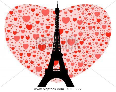 Eiffel tower happy valentines day with hearts illustration poster