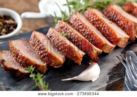 Duck Breast Fillet Closeup On Wooden Background