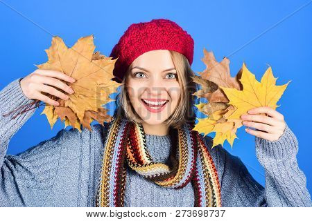 Autumn Theme. Smiling Woman With Maple Leaves. Autumn Mood. Woman With Autumn Leaf. Yellow Maple Lea