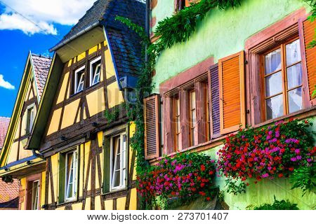 Traditional colorful houses .beautiful village of France Riquewihr