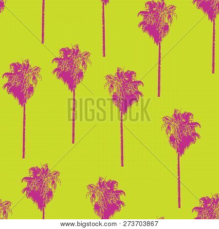 Palm Trees Retro-style Pink On A Lime Green Background. Seamless Vector Pattern