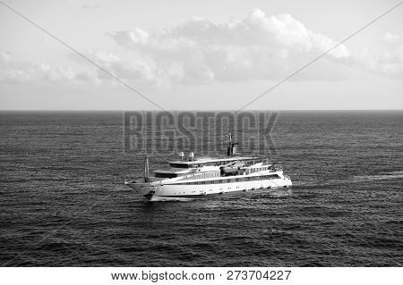 Ship In Ocean In Bridgetown, Barbados. Sea Voyage On Ship. Travelling By Ship. Discovery And Adventu