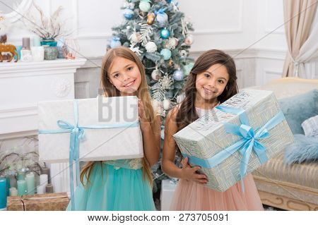 Delivery Christmas Gifts. Cute Little Children Girl With Xmas Present. Happy New Year. Happy Little