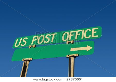 post office sign over the blue sky background poster