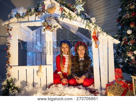 Cute Little Children Girl With Xmas Present. Happy Little Girls Sisters Celebrate Winter Holiday. Ch