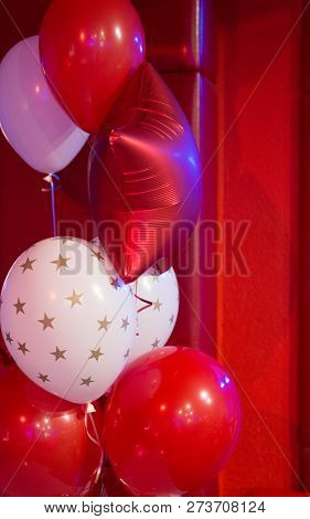 Red And White Balloons With Stars Pattern. Balloon Traditional Holiday Attribute. Every Party Needs