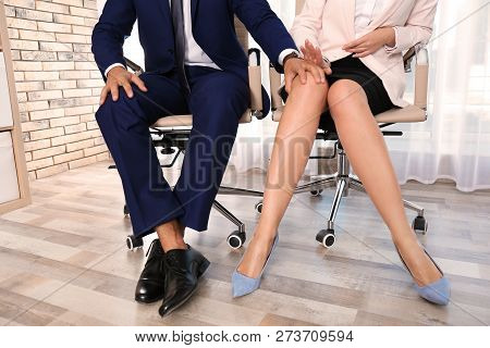Boss Molesting His Female Secretary In Office. Sexual Harassment At Work