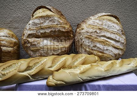 Large Artisan Breads, Traditional Bakery Detail, Food