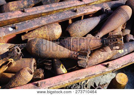 Closeup View Of Unexploded Ordnance, Bombies And Munitions Recovered And Defused In Xieng Khouang Pr