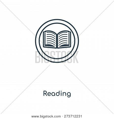 Reading Sign Icon In Trendy Design Style. Reading Sign Icon Isolated On White Background. Reading Si