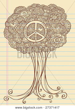 Notebook Doodle Sketch Henna Tree Drawing Vector Illustration Art
