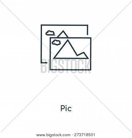 Pic Icon In Trendy Design Style. Pic Icon Isolated On White Background. Pic Vector Icon Simple And M