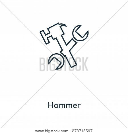 Hammer Icon In Trendy Design Style. Hammer Icon Isolated On White Background. Hammer Vector Icon Sim