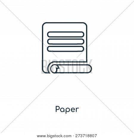 Paper Icon In Trendy Design Style. Paper Icon Isolated On White Background. Paper Vector Icon Simple