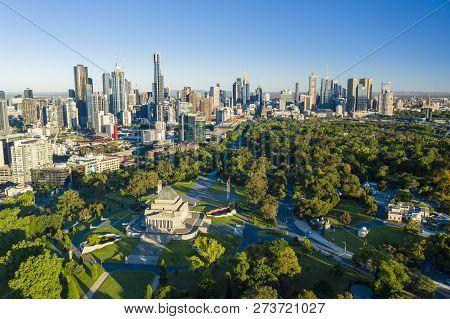 Melbourne, Australia - Dec 1, 2018: Aerial View Of Melbourne Cbd At Sunrise