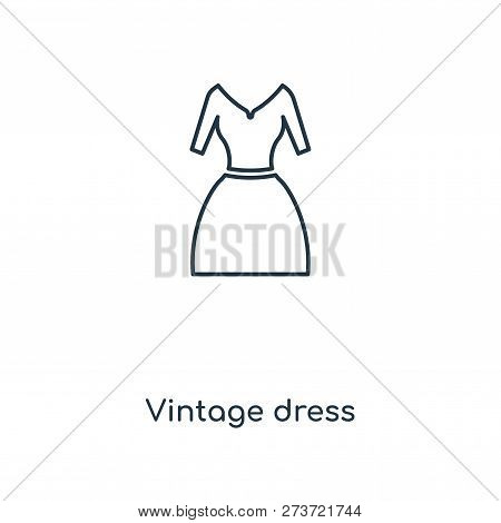 Vintage Dress Icon In Trendy Design Style. Vintage Dress Icon Isolated On White Background. Vintage