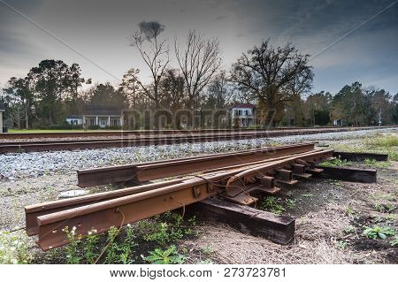 An Old Railroad Track In The Town Of Reevesville, South Carolina.